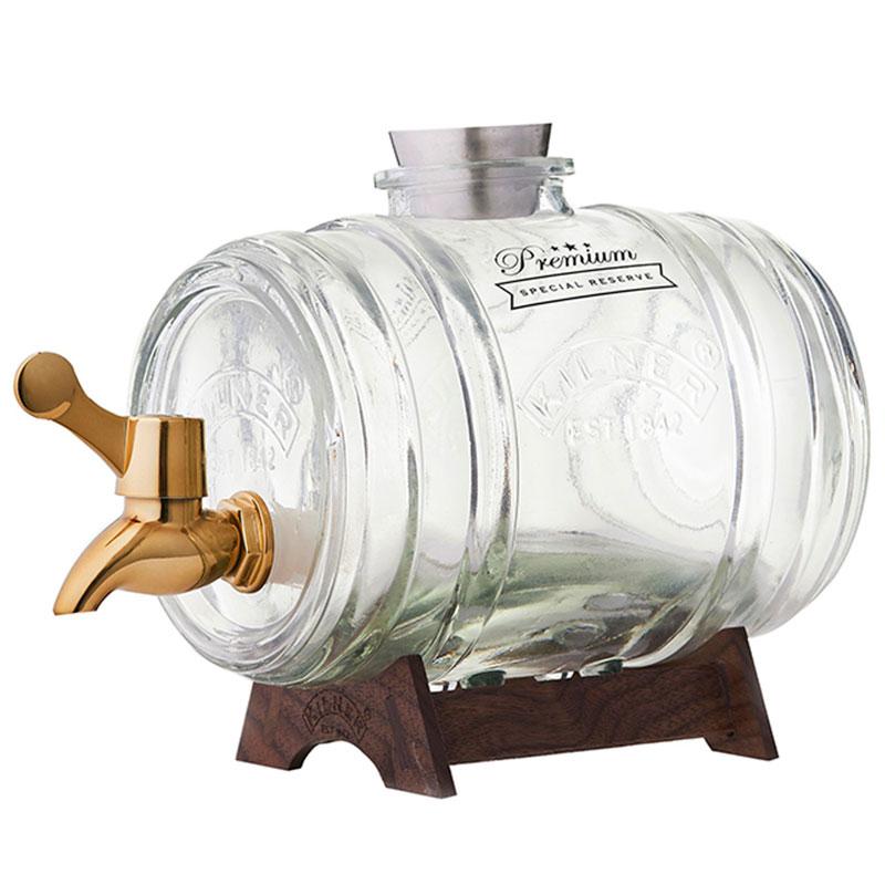 Диспенсер для напитков Barrel на подставке 1 л в подарочной упаковке золотой фото