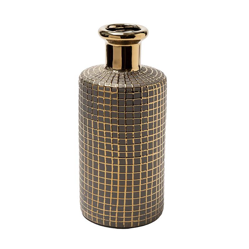 Ваза Гарда Декор керамическая c золотым декором d11x25см