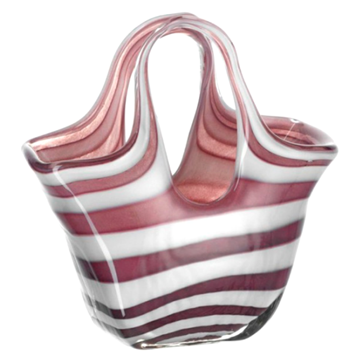 Декоративная ваза-сумка Leonardo Bella Glass bag rose stripes 23см