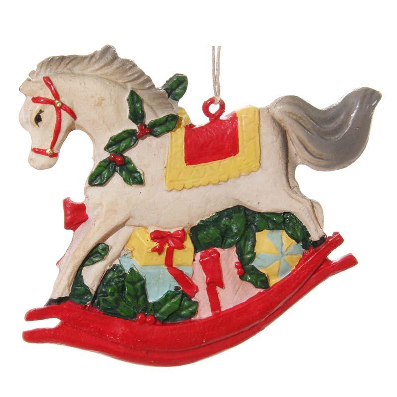 Елочное украшение Shishi Retro Лошадка качалка, 8,5см