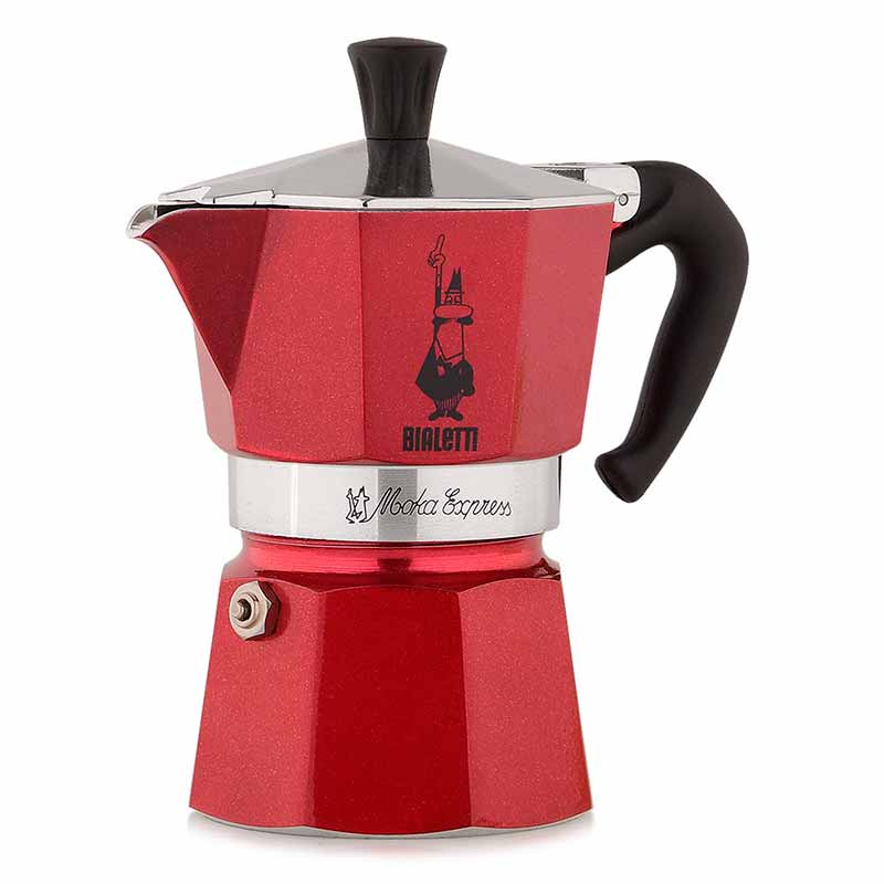 Гейзерная кофеварка Bialetti Moka Express red на 3 порции и молотый кофе Roma 250гр