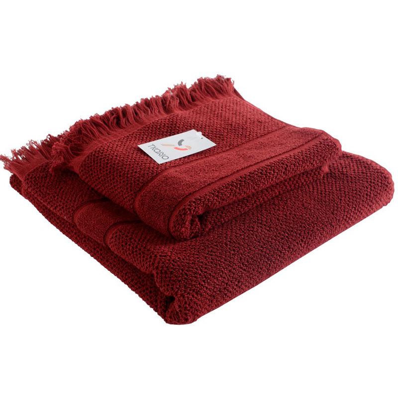 Банное полотенце с бахромой бордового цвета Essential 70х140 фото