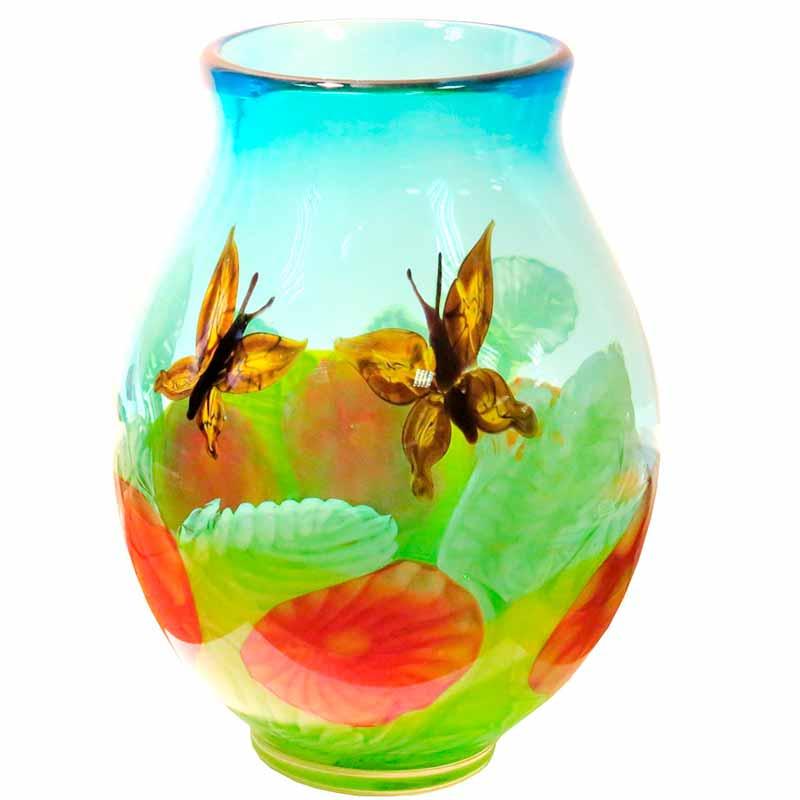 Ваза Art Glass Порхающие цветы 35 см