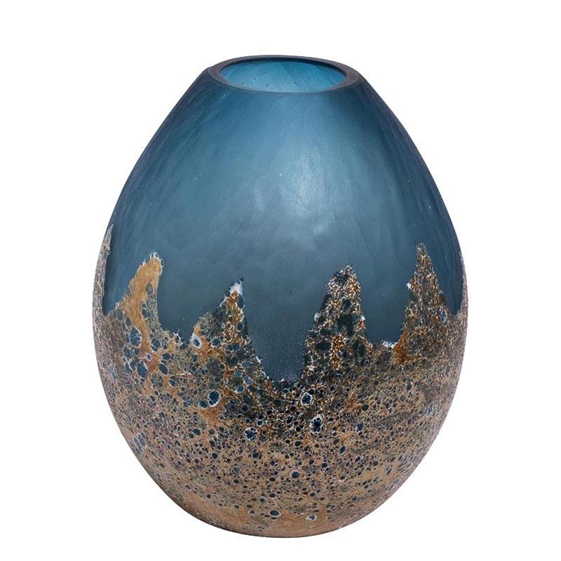 Ваза Гарда Декор голубая с золотом, 29см