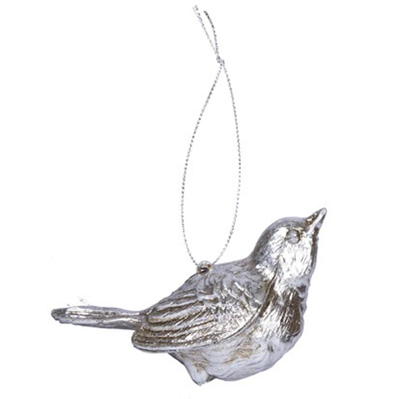 Елочное украшение Hogewoning Christmas Baubles Silver Птичка