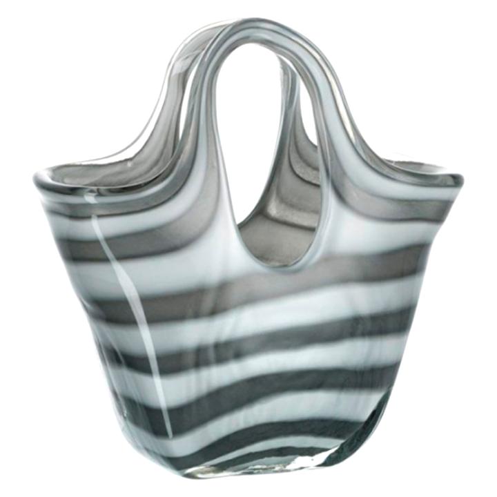 Декоративная ваза-сумка Leonardo Bella Glass bag grey stripes 23см
