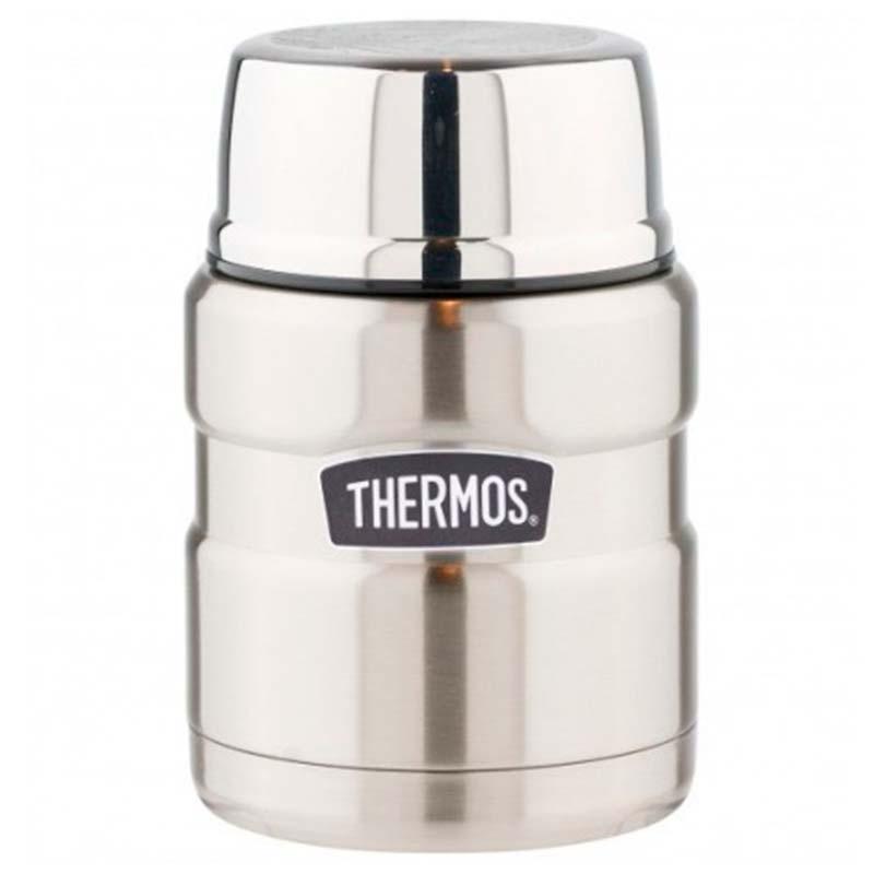 Термос с ложкой Thermos King 470мл, серебряный