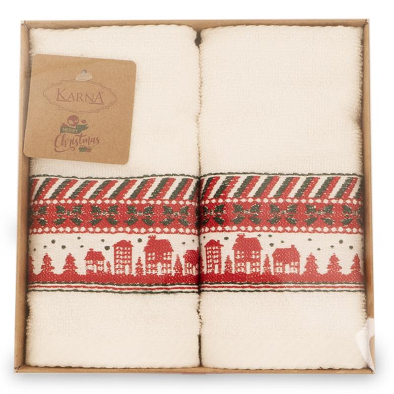 Набор махровых полотенец Karna Christmas, белый