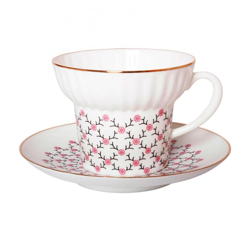 Чайная пара Волна Розовая сетка в подарочной